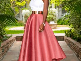 One Shoulder Peplum Top + Mesh 50s Midi Skirt
