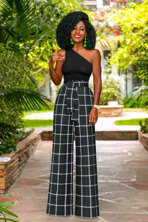 One Shoulder Tank + Belted High Waist Windowpane Pants