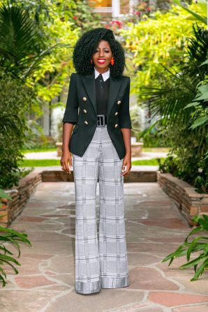 Double Breasted Blazer + Collared Shirt + High Waist Pants