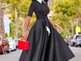 Black & White Contrast 50s Midi Dress