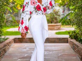 Floral V-Neck Bodysuit + Belted Pegged Pants