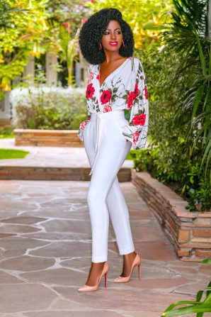 Floral V-Neck Bodysuit + Belted Pegged Pants
