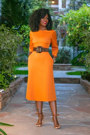 Puffy Sleeve Midi Dress