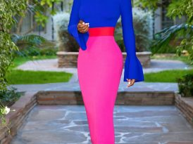 Bell Cuff Knit Top + Color Block Pencil Skirt
