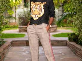 Tiger Motif Sweater + Checked Tuxedo Trousers