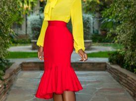 FKSP Bow Blouse + Ruffle Midi Skirt