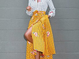 Color Block Windopane Floral Dress