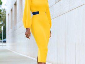 Mustard Midi Dress w/Navy Contrast Waist