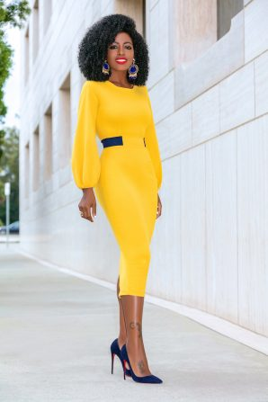Mustard Midi Dress w/Navy Contrast Waist