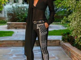 Bow Blouse + Embellished Straight Leg Pants