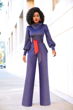 Folded Collar Navy Pinstripe Jumpsuit