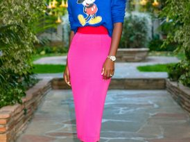Mickey Crewneck + Color Block Waist Pencil Skirt