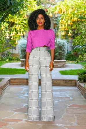 Cropped (DIY) Crew Neck + Houndstooth High Waist Pants