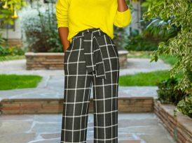 DIY Off Shoulder Neon Knit + Windowpane Belted Pants
