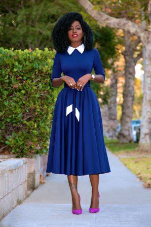 Navy 50s Midi Dress