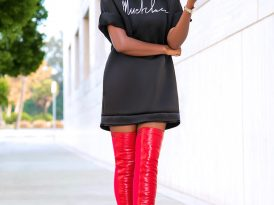 Logo Sweatshirt Dress w/Pockets