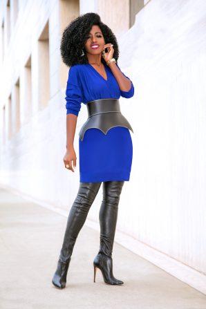 V-Neck Sweater Dress + OTK Boots