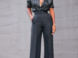 Faux Leather Button Down + High Waist Pants