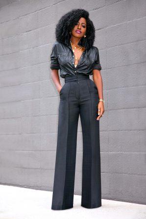 Faux Leather Button Down + High Waist Pants