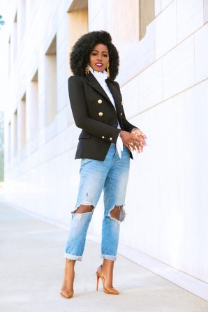 Double Breasted Blazer + Ruffled Button Down + Boyfriend Jeans