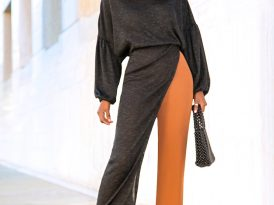 Off Shoulder Asymmetric Sweater + High Waist Pants