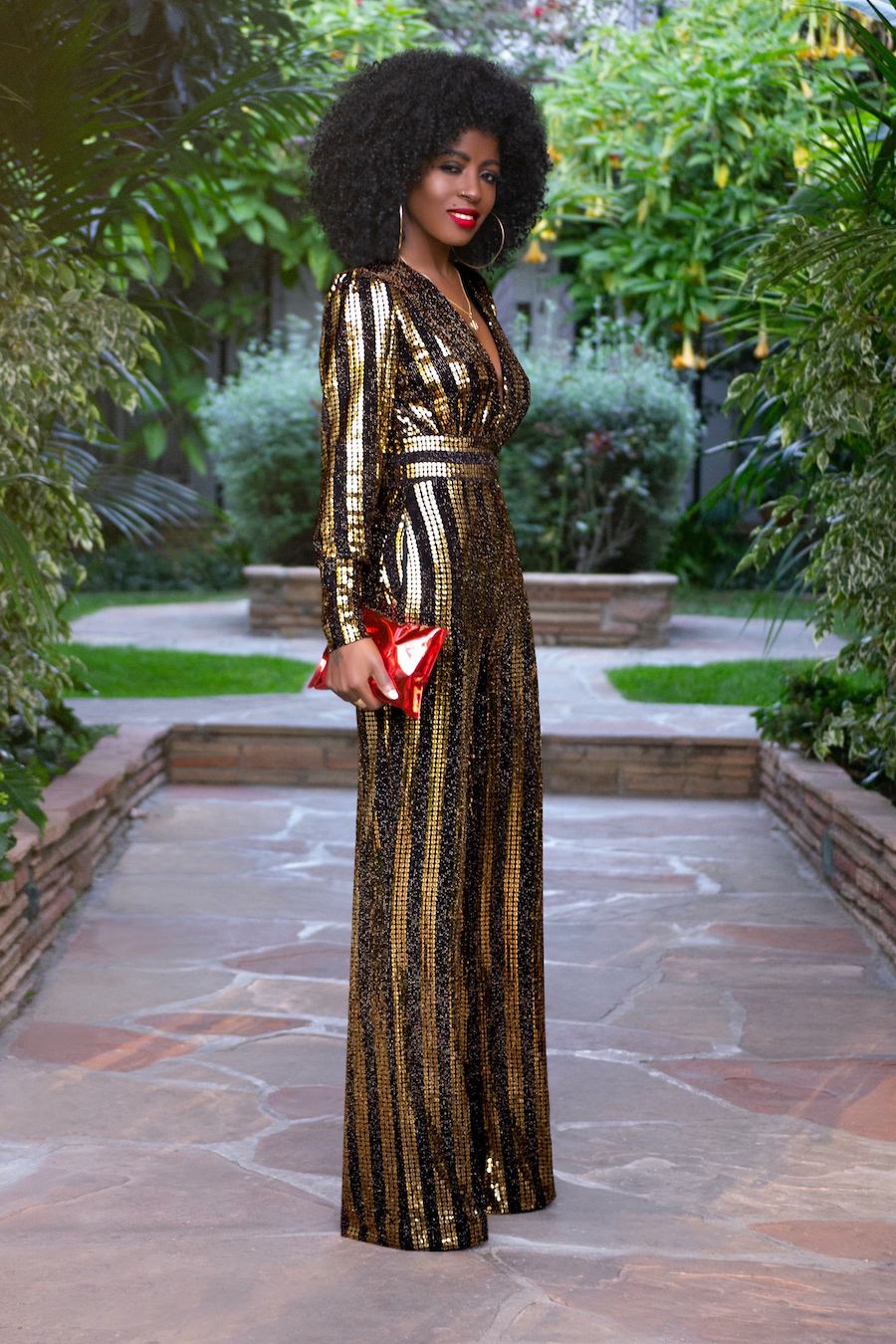 9cdc08f3c73 Gold   Black Sequin Jumpsuit