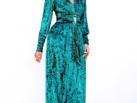 Emerald Wrap-Effect Maxi Dress