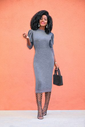 Ruched Sleeve Sweatshirt Dress