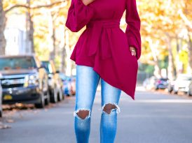 Belted Asymmetrical Hem Sweater + Ripped Jeans