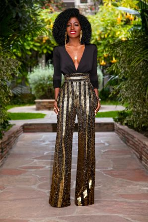 Plunging Neck Bodysuit + Sequin High Waist Pants