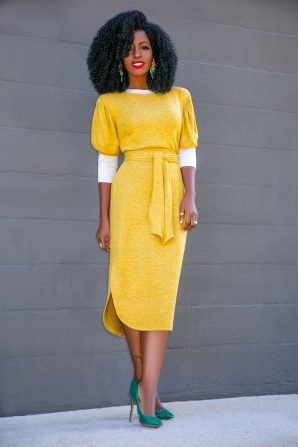 Contrast Sleeve Sweater Dress