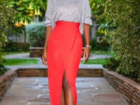 Dolman Sleeve Sweater + Front Slit Midi Skirt