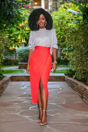 Dolman Sleeve Sweater + Front Slit Midi Skirt