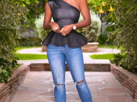 Textured Peplum Top + Ripped Knee Jeans