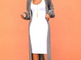 Grey Sweater Duster + White Tank Dress