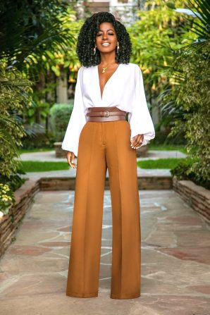Bell Sleeve Bodysuit + High Waist Pintucked Pants