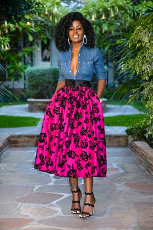 Fitted Denim Shirt + Shirred Floral Skirt