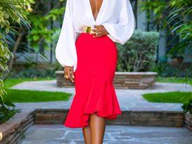 Bell Sleeve Bodysuit + Ruffle Midi Skirt