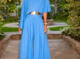 Asymmetrical Blouse + Pleated High Waist Pants
