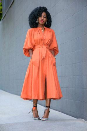 Billowy Sleeves Button-Down + Midi Button-Down Skirt