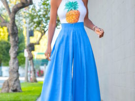 Pineapple Halter Top + High Waist Pleated Pants