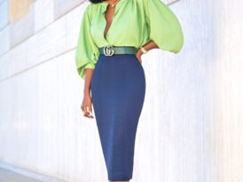 Billowy Sleeve Button Down + Pencil Midi Skirt