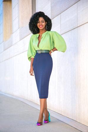 Billowy Sleeve Button Down + Pencil Midi Skirt