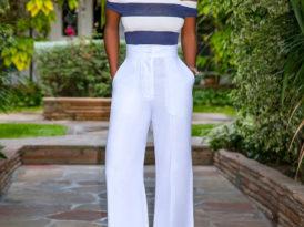 Striped Off Shoulder Top + High Waist Pants