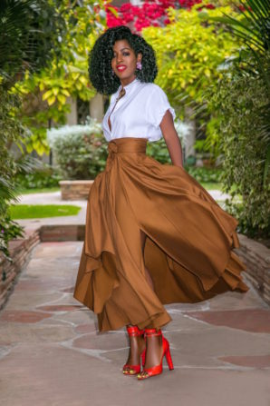 Rolled Sleeve Button-Down + Belted Midi Skirt
