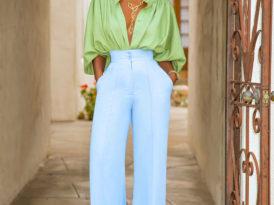 Billowy Sleeve Shirt + High Waist Pants
