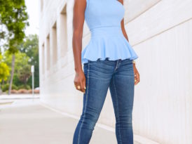 One Shoulder Peplum + Twisted Seam Jeans