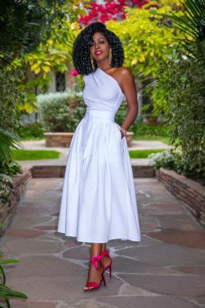 White One Shoulder Midi Dress