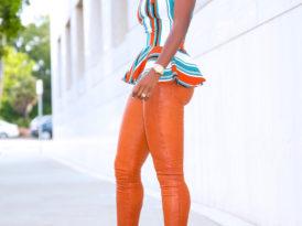 Stripe Peplum Top + Cognac Leather Pants