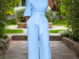 One Shoulder Linen Jumpsuit